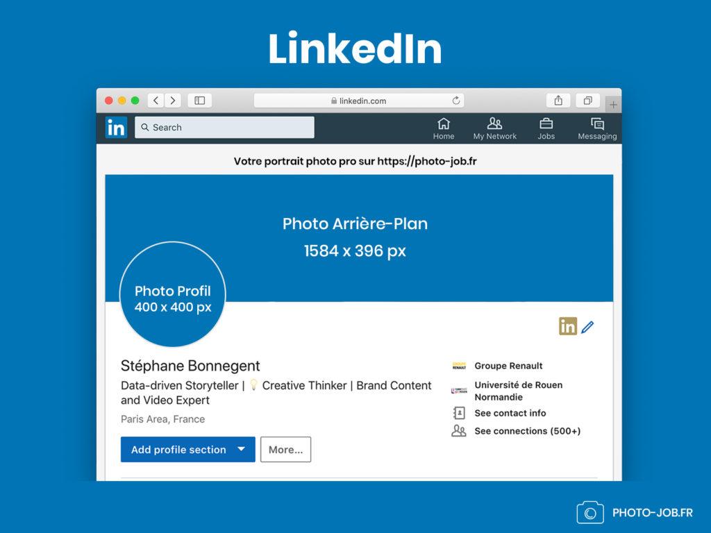 infographie dimensions photos profil et cover arrière-plan LinkedIn en 2019