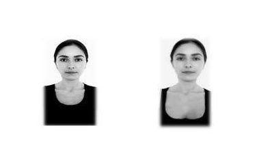 photo cv femme avec décolleté et photo cv femme avec col rond utilisées pour le test de l'expérience